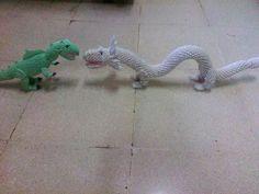 Origami 3D chinese dragon vs t-rex