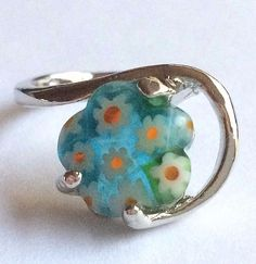 Silver Millefiori Cocktail Ring Plated Murano Style Glass Flowers Size 6.5 Aqua #Handmade #Cocktail
