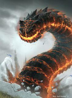 Infernal Wurm by Joel Hustak Dark Fantasy Art, Fantasy Kunst, Fantasy Images, Fantasy Artwork, Weird Creatures, Magical Creatures, Fantasy Creatures, Monster Design, Monster Art