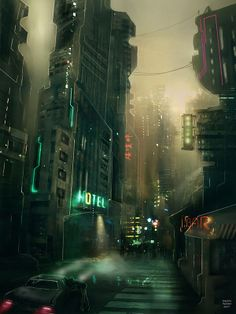 Cyberpunk city art: cyber city by seannash on deviantart. Cyberpunk City, Ville Cyberpunk, Cyberpunk Kunst, Futuristic City, City Painting, Matte Painting, Oil Painting Abstract, Fantasy Landscape, Sci Fi Fantasy