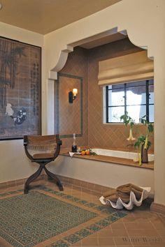 Spanish Style Bathrooms, Spanish Style Decor, Spanish Bathroom, Spanish Style Homes, Spanish House, Spanish Revival, Moroccan Bathroom, Moroccan Tiles, Spanish Colonial