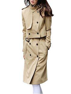 HongyuTing 2015 Women Black Long Office Formal Coat for SpringXLargeKhaki * ** AMAZON BEST BUY **
