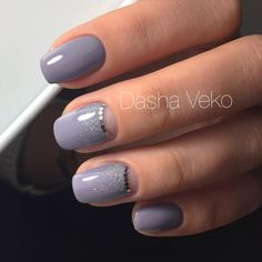 Grey, nude moon and glitter. Manicure | Video Tutorials | Art Simple Nail |