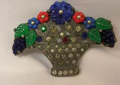 Vintage Fnco Fishel Nessler Poured Glass Rhinestone Floral Bouquet Pin | eBay