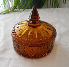 Amber depression glass