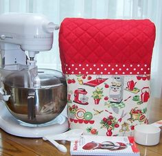 RED kitchen Aid MIXER STAND cover RETRO CHEF TOOLS fabric POCKET 4.5 5 QT *CUTE