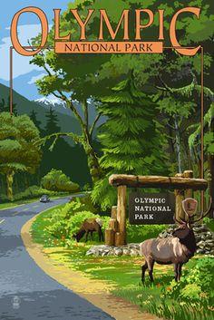 Park Entrance & Elk - Olympic National Park, Washington - Lantern Press Poster