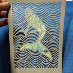 Whale paperart Humpback whale papercut with by peaceofpaper1