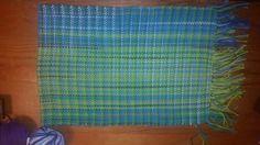 Warp: multiple verigated yarns Weft: green/blue/white verigated  100% cotton