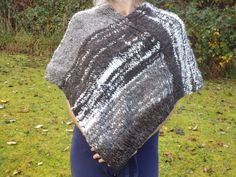 Hand knitted wool poncho using hand spun Jacob sheep wool in natural colours by RebeccasWool on Etsy Jacob Sheep, Wool Poncho, Sheep Wool, Hand Spinning, Hand Knitting, Handmade Items, Colours, Crochet, Casual