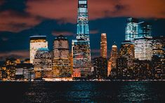 Download wallpapers New York, Manhattan, 4k, nightscapes, skyscrapers, USA, America, NYC