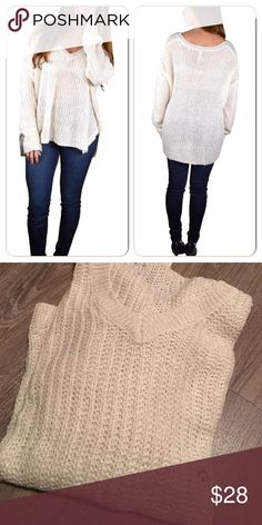 Off white over-sized sweater Really pretty & cozy over sized sweater. Longer in the back them the front. Tunic like. Sweaters V-Necks