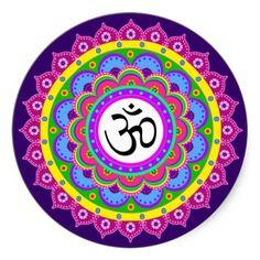 Hindu Mandala | Om Symbol in Rangoli Mandala Round Sticker from Zazzle.com