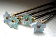 flower bobby pins...shades of blue ...hairpins by monaco on Etsy (Accessories, Hair Accessories, Hair Pins, bobbie pins, clip, floral, flower, pastel, romantic, delicate, monaco, blue, flower hair clips, hair clip, bridal hair, flower hair pin)