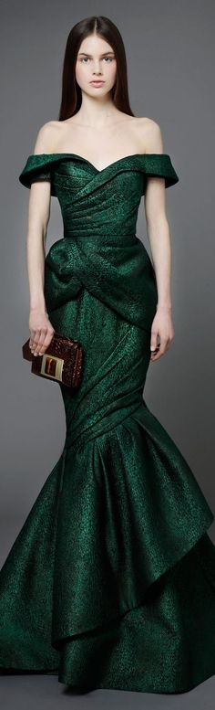 Andrew Gn Pre-Fall 2014 Collection - dark green floor length, off-the-shoulder evening gown. #favsthecolorgreen: