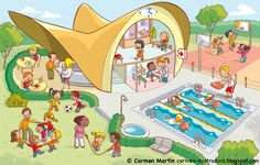 TOUCH this image: interactieve praatplaat: thema Zomer by Nancy Derks-Kooistra Aba Therapy Activities, Speech Activities, Speech Therapy, Teaching French, Teaching Spanish, Teaching English, Picture Comprehension, Picture Composition, Elementary Spanish