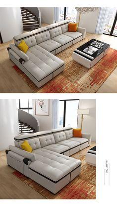 Купить Кожаный диван Di Pu в интернет-магазине с Таобао (Taobao) из Китая, низкие цены | Nazya.com Living Room Sofa Design, Luxury Kitchen Design, Furniture Projects, House Design, Couch, Bedroom, Home Decor, Upholstered Beds, Decoration Home