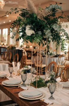 What do you get when you pluck Cinderella out of her fairytale and into a modern setting? This gorgeous dusty blue wedding inspo of course! Blue Wedding Decorations, Wedding Table Flowers, Flower Decorations, Grass Centerpiece, Flower Centerpieces, Tall Wedding Centerpieces, Centerpiece Ideas, Green Wedding, Floral Wedding