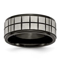 Chisel & Black Plated 9mm Band, Men's