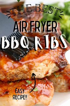 Air Fryer BBQ Ribs are tender, juicy, and so flavorful. Made in under 20 minutes, they are a delicious weeknight meal! #airfryerribs #bbqribs Paleo Barbecue Sauce, Barbecue Ribs, Barbecue Recipes, Weeknight Meals, Easy Meals, Incredible Recipes, Holiday Recipes, Party Recipes, Pinterest Recipes