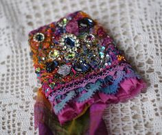 Gypsy silk wrist cuff bead embroidered OOAK cuff by KingaDesign