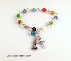 St Francis Rosary Bracelet In Rainbow Millefiori Glass Come Visit UnbreakableRosaries.com