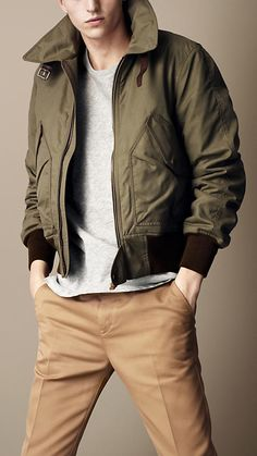 "Burberry Brit Waxed Cotton Bomber Jacket - ""I woud wear this. Even if it is a man's jacket."""
