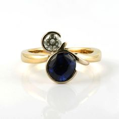 yellow and white gold blue sapphire and diamond ring by Aimee Winstone Designer Engagement Rings, Gold Engagement Rings, Cultural Patterns, Best Of British, White Gold Rings, Blue Sapphire, Creative Design, Gemstone Rings, Yellow