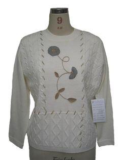 手刺繍ニット 花 白いセーター