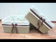 MK📦Basket rope with their handsAs I keep Hirobumi? Diy Storage Boxes, Craft Storage, Storage Baskets, Rope Crafts, Diy Home Crafts, Diy Home Decor, Diy Para A Casa, Fabric Boxes, Diy Workshop