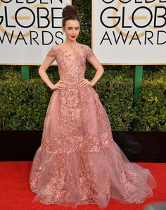 """miss-mandy-m: """"Lily Collins in Zuhair Murad Haute Couture at the 2017 Golden Globes. Golden Globes 2017 Dresses, Golden Globe Awards 2017, Lily Collins Golden Globes 2017, Zuhair Murad, Nice Dresses, Prom Dresses, Formal Dresses, Divas, Liliana"""