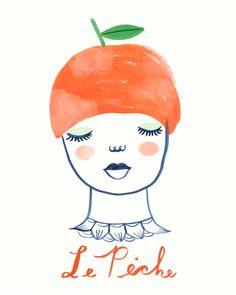 L' Ananas art print fruit girl portrait by Tigersheepfriends