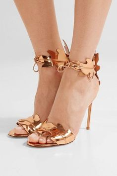 Heel measures approximately 105mm/ 4 inches Rose gold leather Ties at front Made in Italy