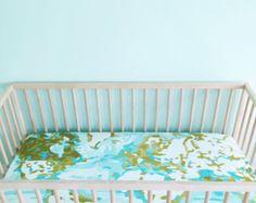 Crib Sheet Aqua Hello World. Fitted Crib Sheet. Baby by Iviebaby