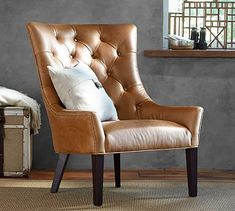 Hayes Tufted Leather Chair #potterybarn
