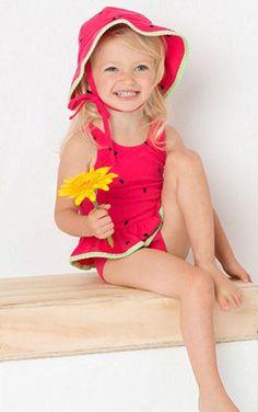 Le Top Pink Lime WATERMELON CUTIE Skirted 1-Piece Swimsuit BABY Girls 12m-24m - Color Me Happy Boutique