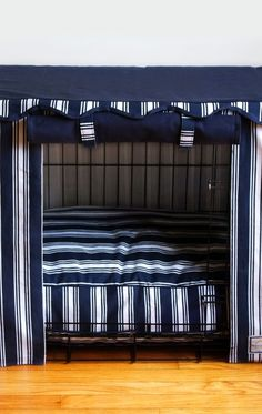 Transform an ordinary metal crate into a den of luxury with this Nautical Stripe Crate Cover & Bed.