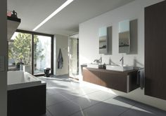 Duravit - Bathroom design series: Starck 1 - washbasins, toilets, bidets, urinals, bath room furniture and accessories from Duravit.