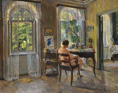 Sergei Arsenevich Vinogradov (Russian, 1869-1938) - Lady in an Interior, 1924 - Although the subject faces away, her figure, haircut and her shoes suggest that she is Vinogradov's wife, Irina Kazimirovna Voitsekhovskaya. High ceilings and large windows create a beautiful interplay of light and shade and a sense of space which is so successfully conveyed by the artist in green and golden tones. The delicate pink of the model's dress balances his chosen palette perfectly. - Németh György