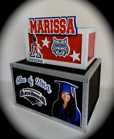2 level graduation gift card money envelope box. Lower level features the high school. Upper level features the college she is going to. #graduation #giftcardbox #collegethemed