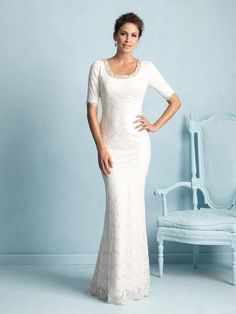 ac025cfe63df Bridal Gown, Full Lace, Sheath Silhouette, Crystal Neckline, Buttons Down  the Zipper. Veronica Michaels