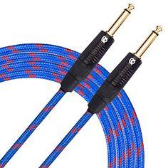 """KLIQ Guitar Instrument Cable, 20 Ft - Custom Series with Premium Rean-Neutrik 1/4"""" Straight Gold Plugs, Blue/Red Tweed"""