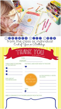 Teacher Gift Idea free printable coloring page. End of year class or individual gift of memories.