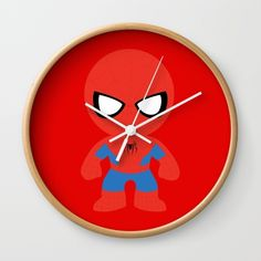 """Spiderman - Available in natural wood, black or white frames, our 10"""" diameter unique Wall Clocks feature a high-impact plexiglass crystal face and a backside hook for easy hanging. Choose black or white hands to match your wall clock frame and art design choice. Clock sits 1.75"""" deep and requires 1 AA battery (not included)."""