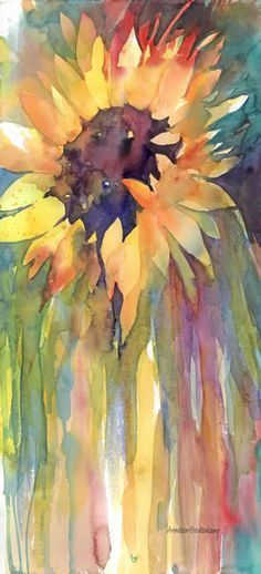 Floral/Still Life - Sunflower by Annelein Beukenkamp Watercolors