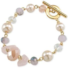Carolee Gold-Tone Pastel Bead Toggle Bracelet ($17) ❤ liked on Polyvore featuring jewelry, bracelets, pink, gold tone bangles, beaded jewelry, toggle bracelet, carolee and pink bangles