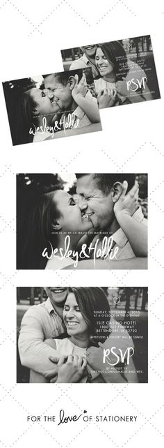 Brush Lettering Wedding Invitation with Photos | Wesley & Hallie | For the Love of Stationery