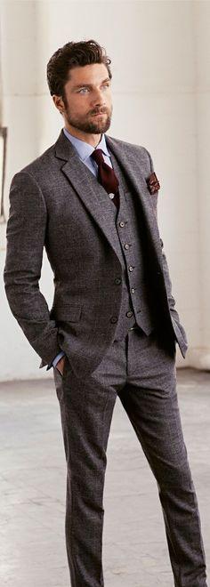 Tweed groom suit.