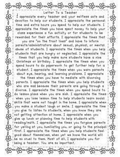 A Letter To A Teacher