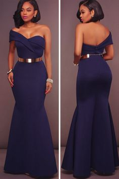 The Backless Strapless Off-the-Shoulder Belt Mermaid Dress will stand out at any event! Mermaid, Ankle-Length hemline and Oblique Collar. Dinner Gowns, Evening Gowns, Evening Party, African Bridesmaid Dresses, Maid Of Honour Dresses, Latest African Fashion Dresses, Mermaid Dresses, Classy Dress, African Dress